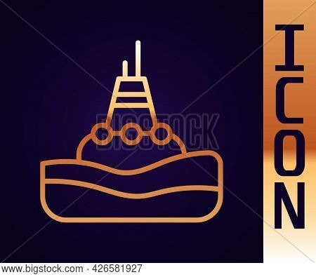 Gold Line Floating Buoy On The Sea Icon Isolated On Black Background. Vector
