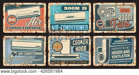 Air Conditioning And Ventilation Rusty Plates With Vector Air Conditioners, Cooker Or Kitchen Exhaus