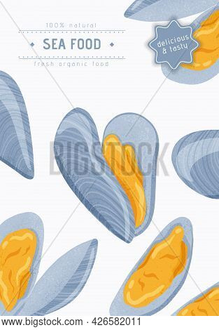 Fresh Tasty Seafood Clams, Shellfish In Seashells Vector Hand Drawn Poster Design With Text Space.