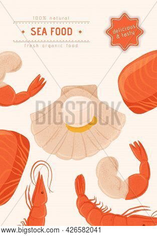 Fresh Tasty Seafood Scallop, Tuna Steak And Shrimp Vector Hand Drawn Banner Concept With Space For T