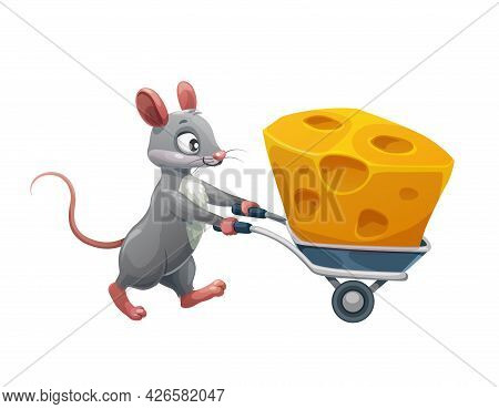 Cartoon Mouse With Cheese In Wheelbarrow, Vector Animal Character. Mouse Carrying Or Stealing Cheese