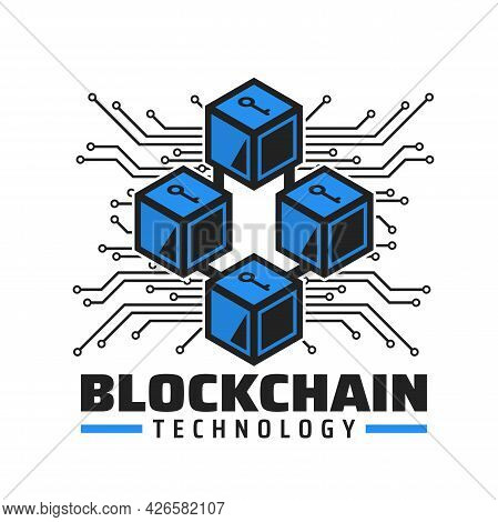 Blockchain Technology Icon, Cryptocurrency Payment Service Vector Emblem. Blue Cubes With Key, Compu