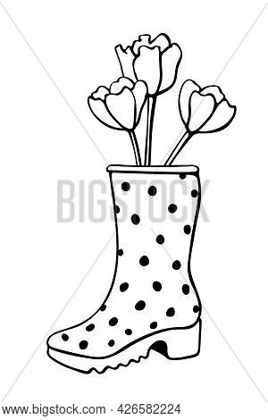 Vector Outline Spring Tulip Flowers In Rubber Rain Boots. Cute Seasonal Spring Floral Illustration.
