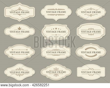 Vintage Retro Borders And Frames, Vector Labels And Ornate Banners. Vintage Frames And Certificate O