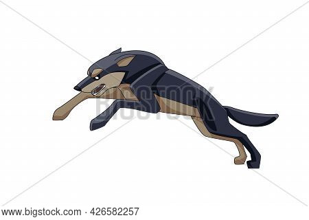 Wolf Runs After Its Prey. Cartoon Character Of A Dangerous Mammal Animal. A Wild Forest Creature Wit