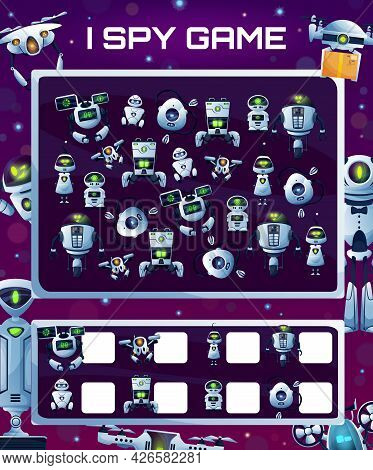 Kids Education Game With Robots, Vector I Spy Riddle With Cyborgs, How Many Androids And Drones Test
