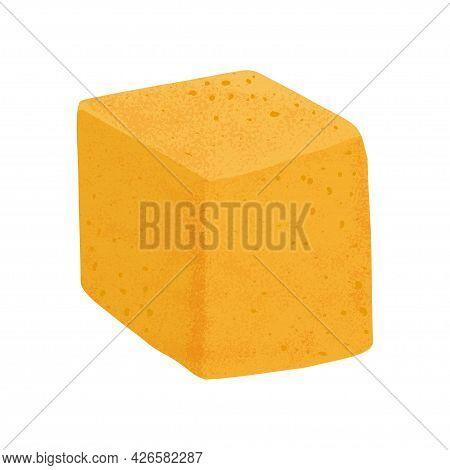 Swiss Cheese Cube Vector Flat Illustration. Gouda, Parmesan Or Maasdam Fresh And Tasty Food.