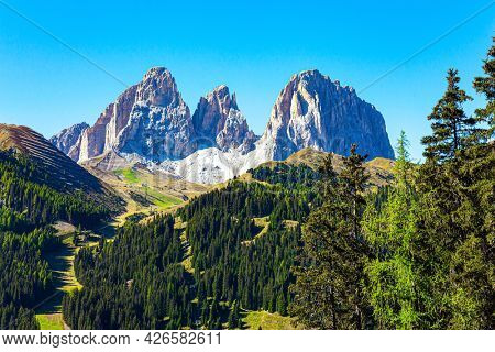 Europe. The Eastern Alps. Erosion has created landscapes with vertical rocks, bare cliffs and long valleys. The mountains are surrounded by dense coniferous forests. The Dolomites.