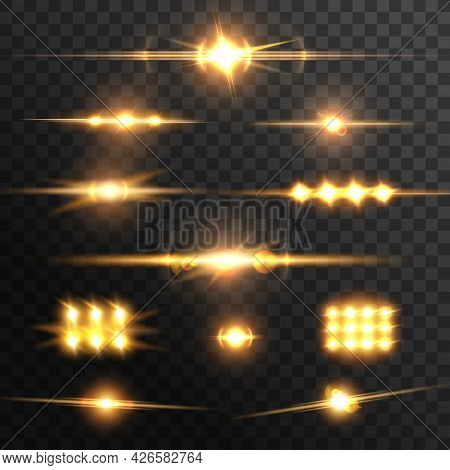 Lens Glow Flare Effect, Golden Light Beams. Vector Flashes Or Star Sparkles. Realistic Photography S