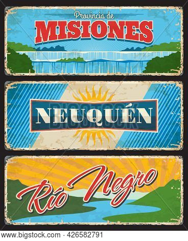 Misiones, Neuquen And Rio Negro, Argentine Provinces And Regions Vector Vintage Plates. Flag With Su