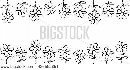 Frame From Outline Flowers In Cartoon Doodle. Vector Hand Drawn Isolated. Horizontal Top And Bottom