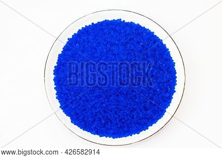 Blue Silica Gel Desiccant On White Backgrounds