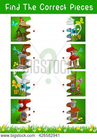 Half Pieces Kids Game With Fairytale Houses And Dwellings Vector Template. Connect Pictures Educatio