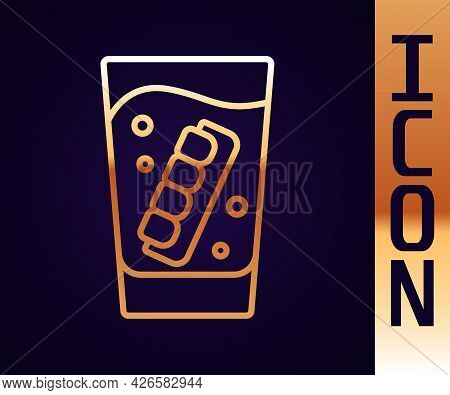 Gold Line False Jaw In Glass Icon Isolated On Black Background. Dental Jaw Or Dentures, False Teeth