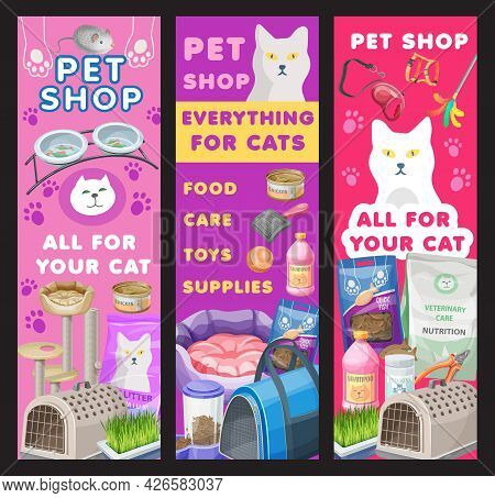 Cat Care And Pet Shop Banners, Goods For Kitten Grooming And Feed. Vector Ad Promo Cards For Zoo Mar