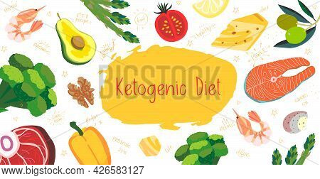 Keto Diet Poster, Brochure Banner, Flyer In Vector Cartoon Flat Style With Words And Food Doodles. K
