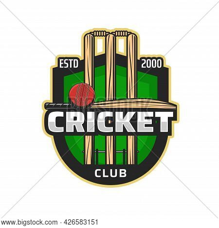Cricket Sport Club Icon. Vector Ball, Bats And Wickets. Cricket Sport Game Team Player Equipment Iso