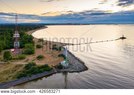 Baltic Sea at the East Breakwater in Gdansk at sunset, Poland