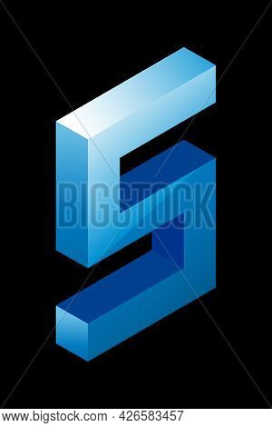 Gradient Blue Number 5 In Isometric Style. Isolated On Black Background. Water Texture. Learning Num