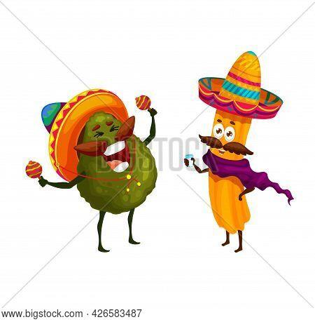 Cartoon Mexican Churros And Avocado Happy Characters. Vector Mariachi Funny Musicians In Sombrero Pl