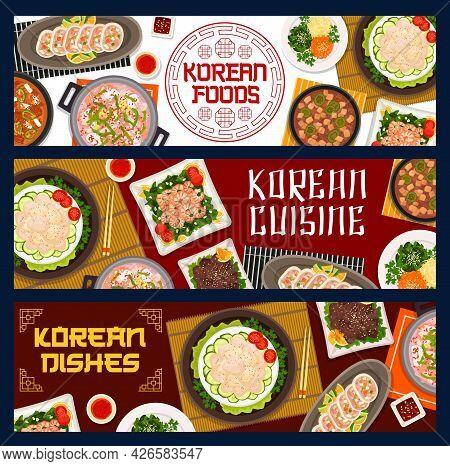 Korean Food Restaurant Meals Posters. Vegetable Stuffed Squid, Seafood And Pork Tofu Soup, Fried Shr
