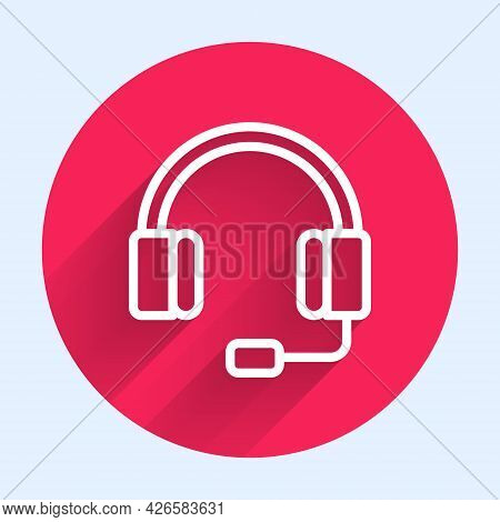 White Line Headphones Icon Isolated With Long Shadow. Earphones. Concept For Listening To Music, Ser