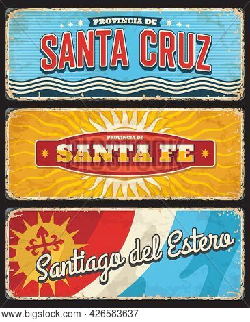 Santa Cruz, Santa Fe And Santiago Del Estero Argentina Argentine Region Provinces Retro Vector Tin S