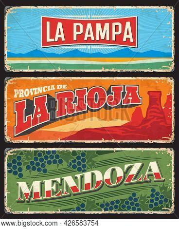 La Pampa, La Rioja And Mendoza Provinces And Regions Of Argentina Vector Vintage Plates. Talampaya C