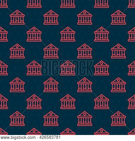 Red Line Courthouse Building Icon Isolated Seamless Pattern On Black Background. Building Bank Or Mu