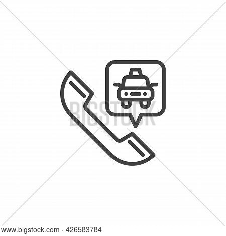 Taxi Call Line Icon. Linear Style Sign For Mobile Concept And Web Design. Taxi Service Outline Vecto