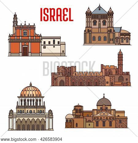 Israel Landmarks Architecture, Travel Sightseeing Of Jaffa And Haifa, Vector. Israeli Jewish And Isl