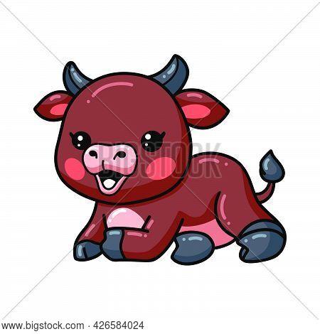 Vector Illustration Of Cute Baby Bull Cartoon Laying Down