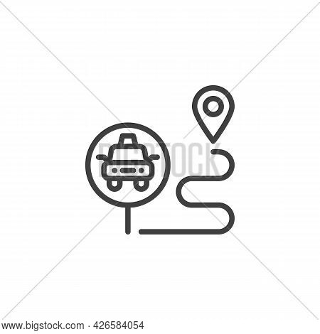Taxi Route Line Icon. Linear Style Sign For Mobile Concept And Web Design. Taxi Order Destination Ou