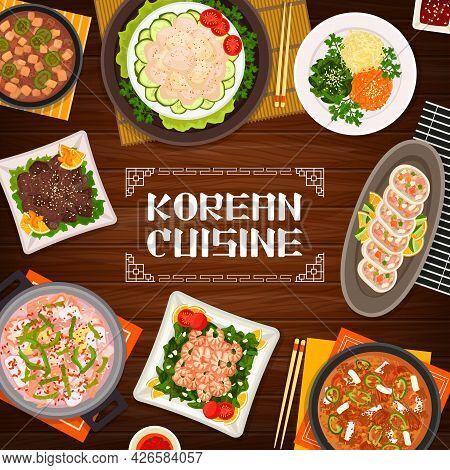 Korean Cuisine Food Restaurant Banner. Scallop Salad And Vegetable Stuffed Squid, Grilled Beef Bulgo