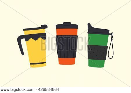 Set Of Tumblers With Cap And Handle. Reusable Cups And Thermo Mugs. Different Designs Of Thermos For