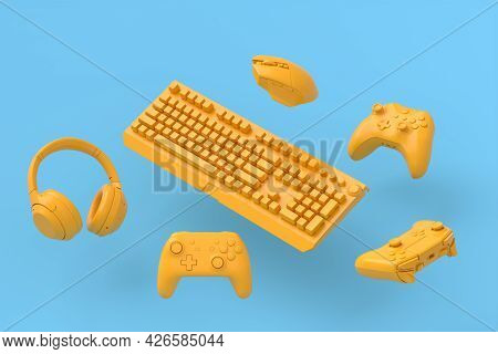 Flying Gamer Monochrome Gears Like Mouse, Keyboard, Joystick, Headset, Vr Headset On Blue And Yellow