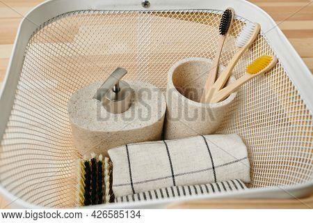 Eco friendly toothbrushes and other bodycare items inside basket