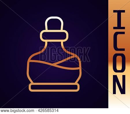Gold Line Bottle With Potion Icon Isolated On Black Background. Flask With Magic Potion. Happy Hallo