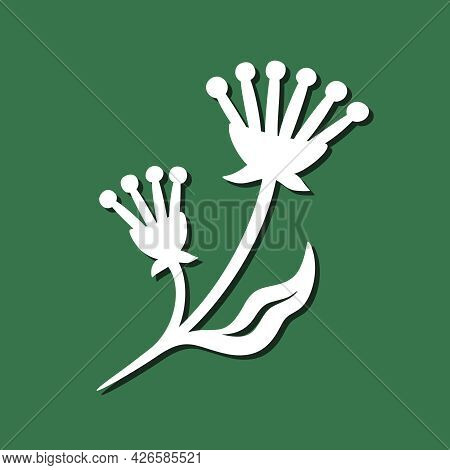 Decorative Plant Element. White Object On A Green Background. The Theme Of Nature, Flowers. Template