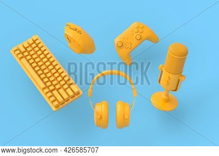 Flying Monochrome Gamer Gears Like Mouse, Keyboard, Joystick, Headset, Vr Headset. Microphone On Blu