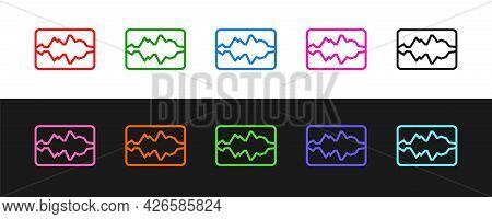 Set Line Music Wave Equalizer Icon Isolated On Black And White Background. Sound Wave. Audio Digital