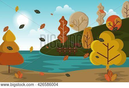 Autumn Fall Season Countryside Lake Nature Landscape Illustration