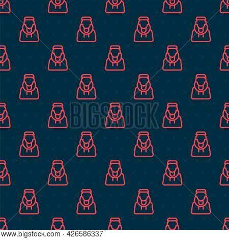 Red Line Monk Icon Isolated Seamless Pattern On Black Background. Vector