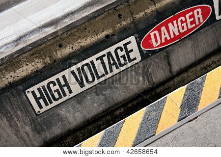 Danger high voltage warning sign with black and yellow hazard stripes. poster