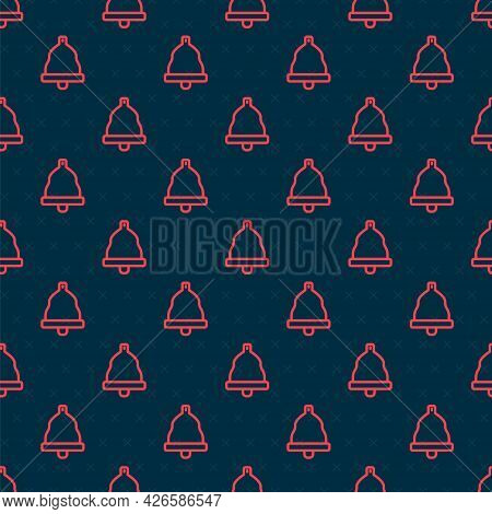 Red Line Church Bell Icon Isolated Seamless Pattern On Black Background. Alarm Symbol, Service Bell,
