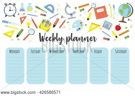 Education Lessons Plan. Template School Timetable For Students Or Pupils. Timetable For Elementary S