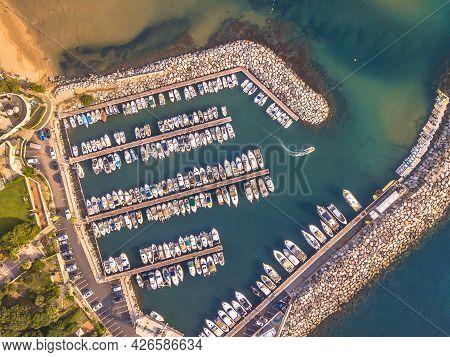 Marina Top Down Aerial View In Mediterranean Sea In Saint Aygulf Near Frejus Cote D'azur, France