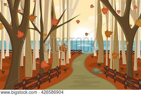 Autumn Fall Season Countryside Street Nature Landscape Illustration