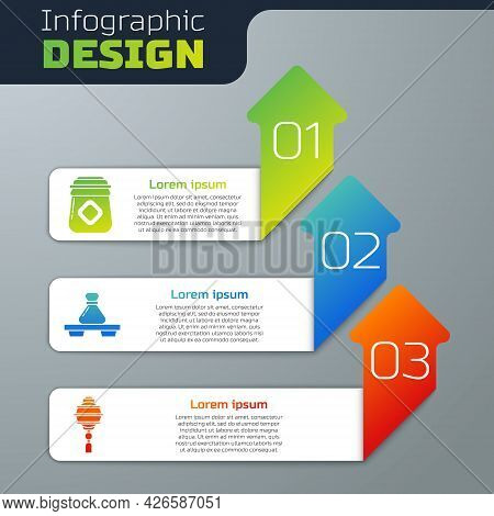 Set Jar Of Honey, Dumpling On Cutting Board And Chinese Paper Lantern. Business Infographic Template