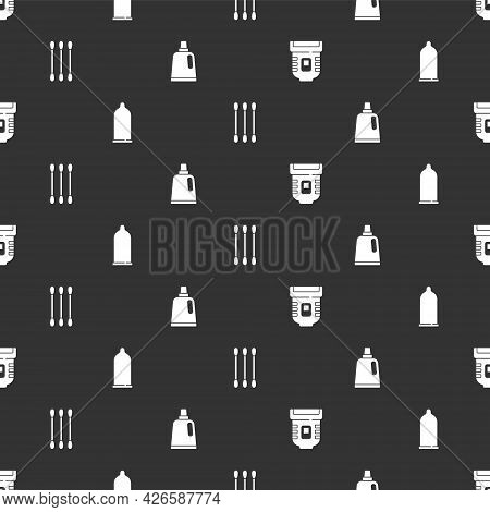 Set Epilator, Condom, Cotton Swab For Ears And Bottle Cleaning Agent On Seamless Pattern. Vector